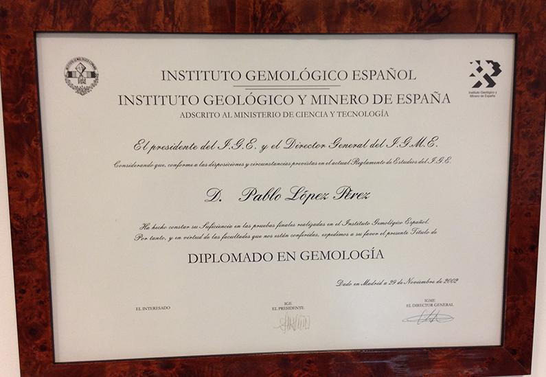 Diploma de Gemologia (IGE)